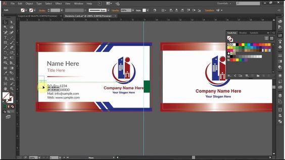 How To Design A Double Sided Business Card In Adobe Illustrator Cc Cs6 Business Card Template Word Double Sided Business Cards Card Template