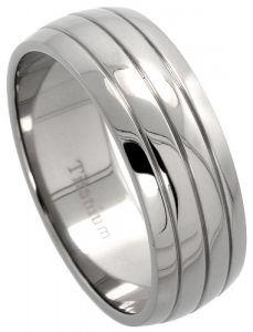 Men's Comfort Fit Titanium Wedding Band 8mm Dome Groove Design