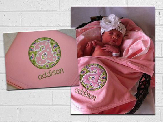 Monogrammed Baby Blanket - Pink and Green Paisley - Baby Gift. $26.99, via Etsy.