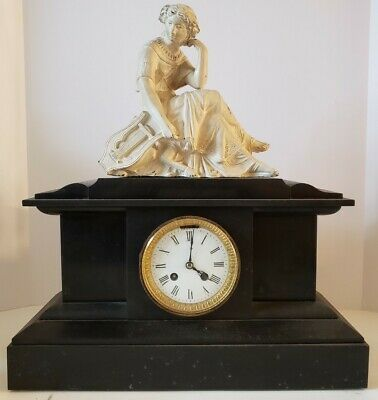 Ebay Ad Link Antique French Victorian Black Marble Slate Mantel Clock With Statue Topper In 2020 French Antiques Clock Black Marble