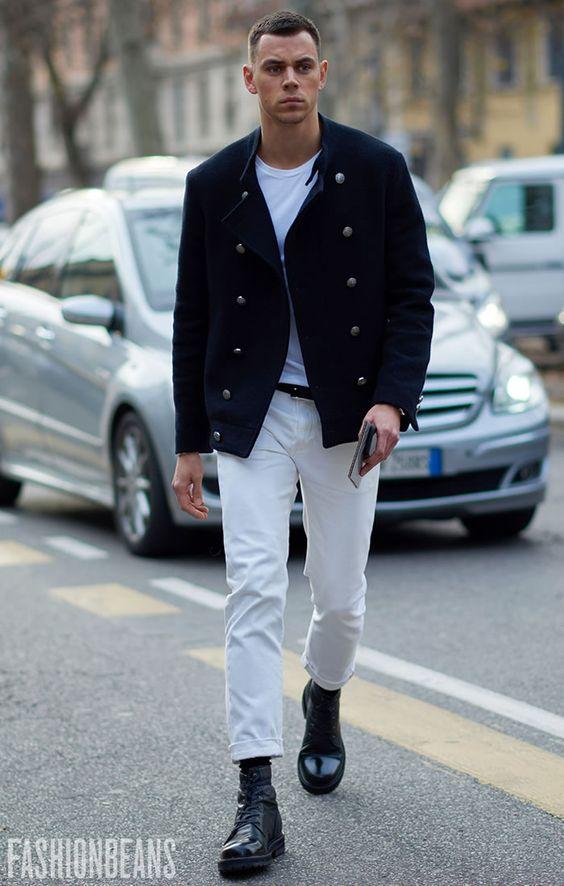 ⑥白Tシャツ×ナポレオンジャケット×白パンツ