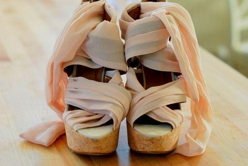 pastel lace up wedges