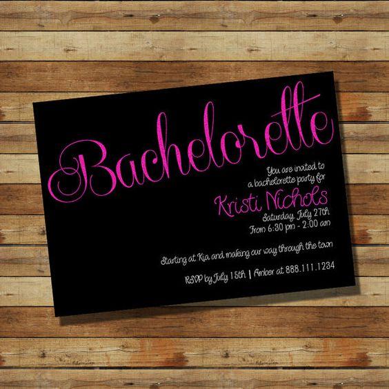 Bachelorette Party Invitation Hot Pink & Black (digital file)