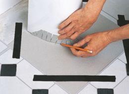 How to cut in self adhesive floor tiles