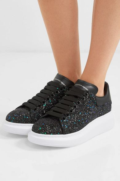 Black Glittered leather exaggerated