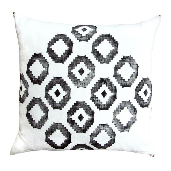 "Hand Printed Scandinavian Print Pillow Cover 20"" x 20"""