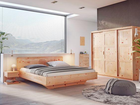 Zirbenschlafzimmer mit Zirbenbett  - zirbenholz schlafzimmer modern