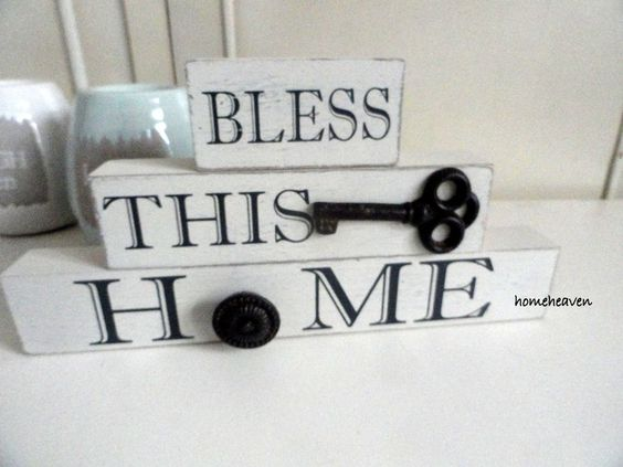 Bless This Home word Block Wooden Ornament Mantle Vintage Shabby chic  #homeheaven