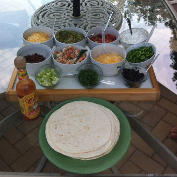 quesadilla bar!! great for summer..make quesadillas on the grill :)