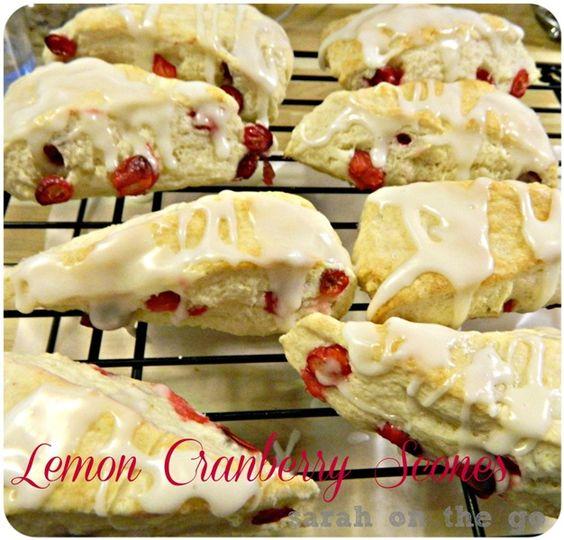 Lemon Cranberry Scones with Lemon Glaze
