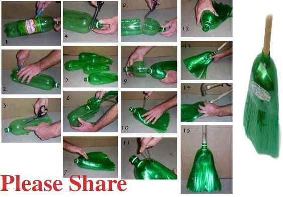 Do It Yourself plastic broom | For The Home: Pop Bottle, Recycled Bottle, Plastic Bottle, With Bottle, Liter Bottle, Diy Craft, Diy Project
