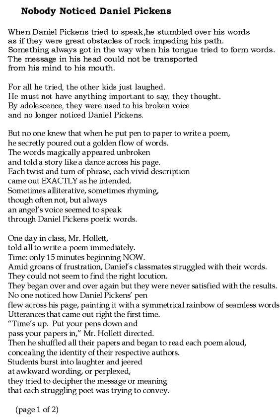 """Nobody Noticed Daniel Pickens"" page 1 by Gwen Haaland"