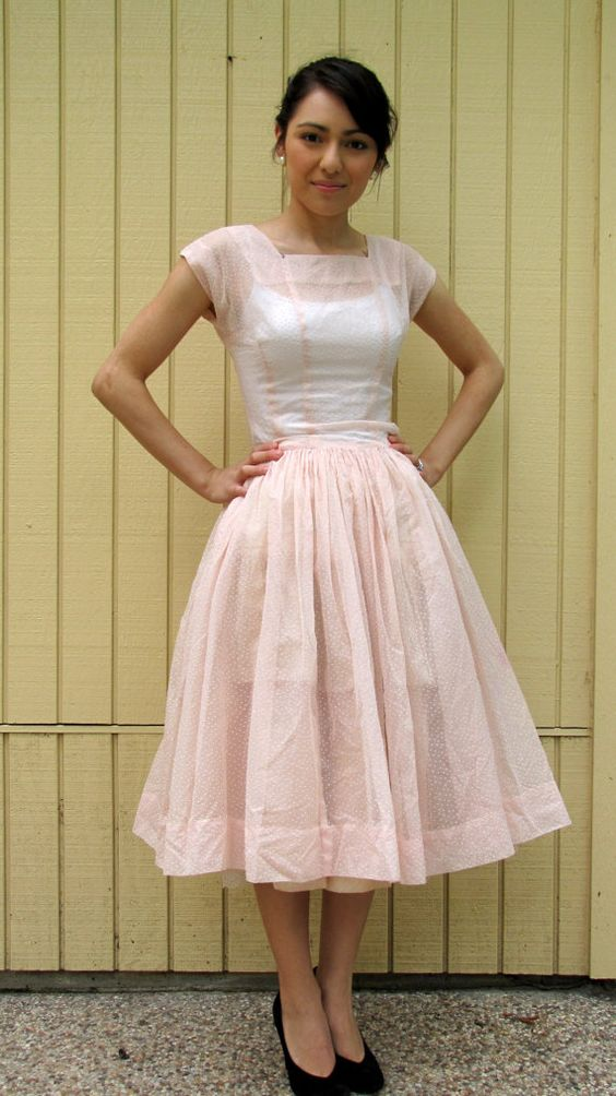 Vintage 50s sheer blush pink dress// Mad Men style// Full Skirt ...