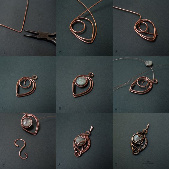 Picture wire jewelry tutorial - pendant with beads or could be used for earrings.: