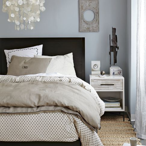 Ethan Allen Somerset Bed - Grey and white with cherry wood!