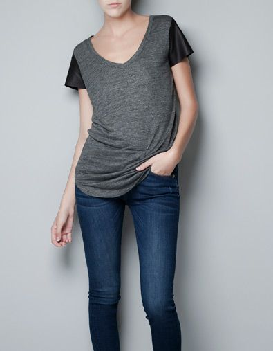 FAUX LEATHER SLEEVED T-SHIRT