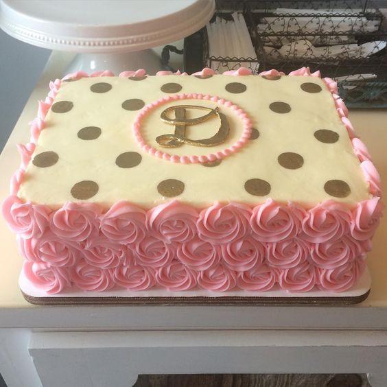Rosette Cake Design : Golden polka dot rosette sheet cake! #buttercream # ...