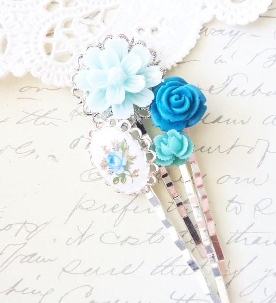 Garden Flower Hair Pin Set - Bobby Pin Set - Wedding - Bridal - Bridesmaid - Rose - Vintage Limoges - Flowers - Something Blue by NestingPretty #TrendingEtsy