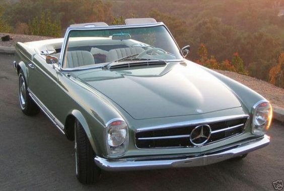"""1967 Mercedes-Benz 250SL. My dream car as a teen-ager. When I was 19, my mother painstakingly assembled a tiny silver model and put it under the Christmas tree with the note:""""Terrie -Hold onto your dreams."""""""
