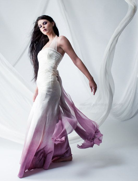 Lilac Dip Dyed Bridal Gown Ombre Wedding Dress Gradient