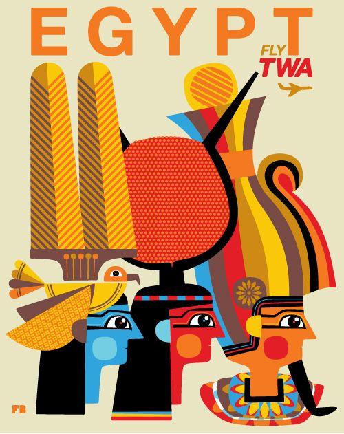 Poster de TWA, linea aerea que ya no existe. Egipto.