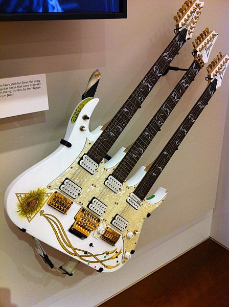 I think every one of his guitars is on this board: Steve Vai's Ibanez triple neck guitar http://amazingguitargifts.com