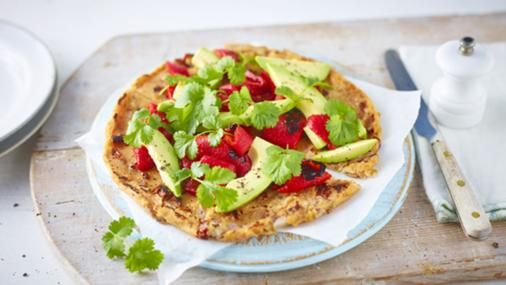 Socca pancakes with roasted peppers and avocado recipe socca pancakes with roasted peppers and avocado recipe pancakes pepper and gram flour forumfinder Gallery