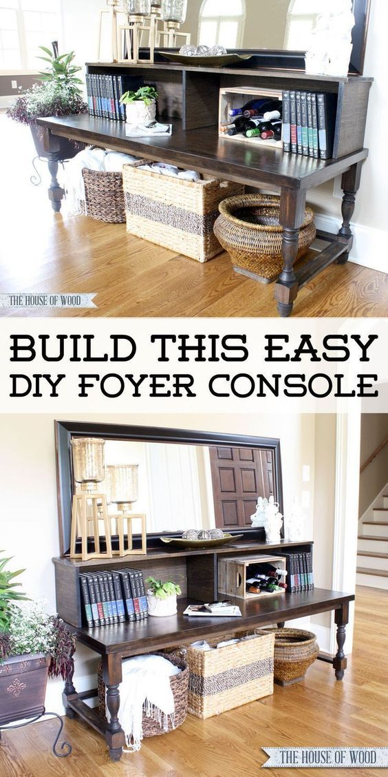 Build this easy DIY Foyer Console Table with beautiful turned legs from The House of Wood