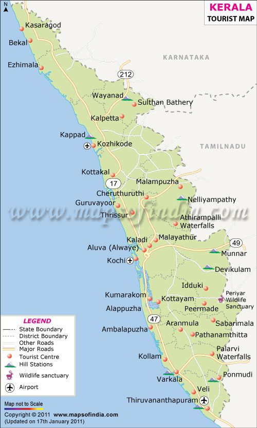 Kerala or Gods own country is situated on the Malabar Coast – Kerala Tourist Map