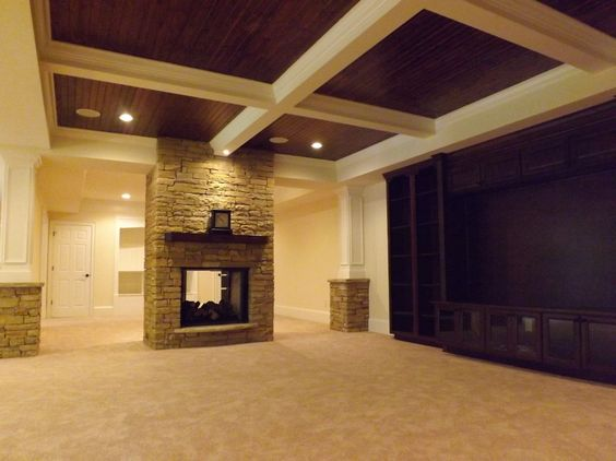 basement coffered ceiling with wood paneling wow just