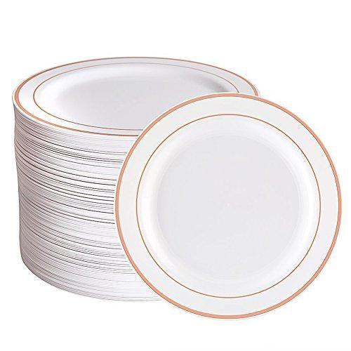 Tableware Set 100 Piece Rose Gold Tableware Set Gold Plastic Plates Tableware