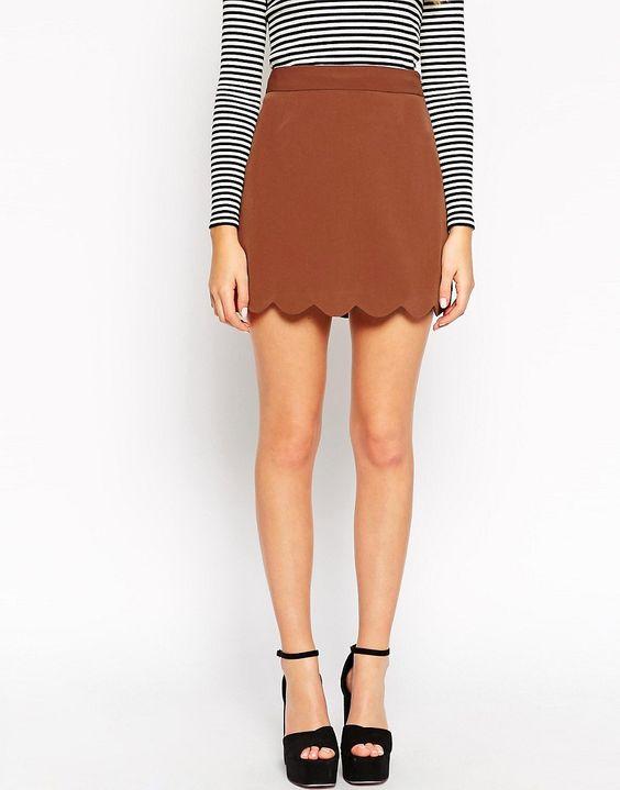 Image 4 - ASOS - Mini jupe trapèze à ourlet festonné