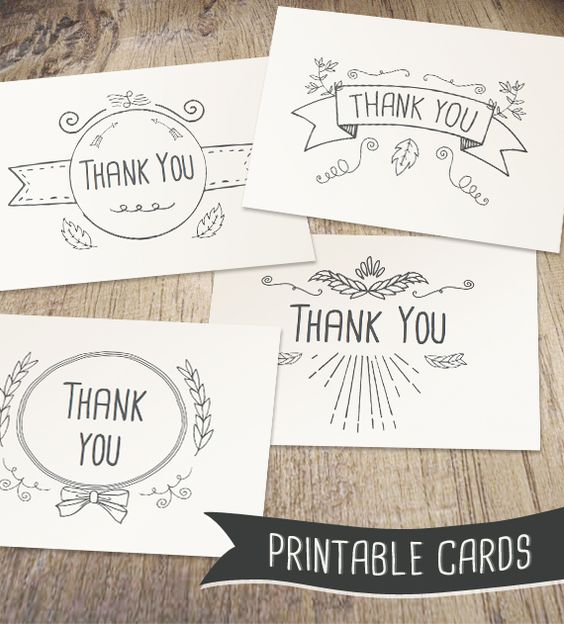Hand Drawn Printable Thank You Cards                                                                                                                                                      More