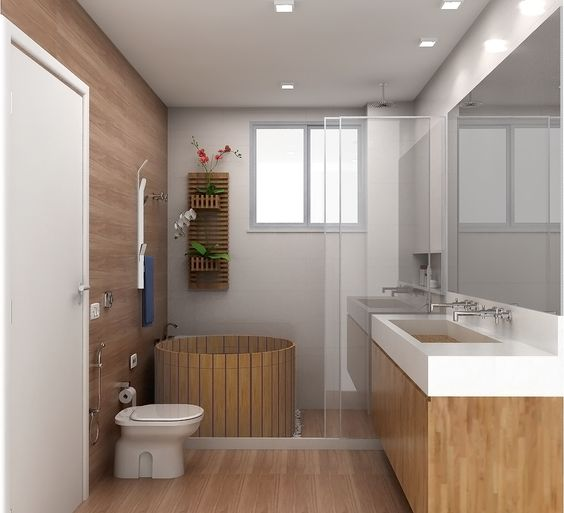 Banheiro com Ofurô da cliente do Rio de janeiro  Banheiro CasalSocial  Pin -> Banheiro Pequeno Ofuro