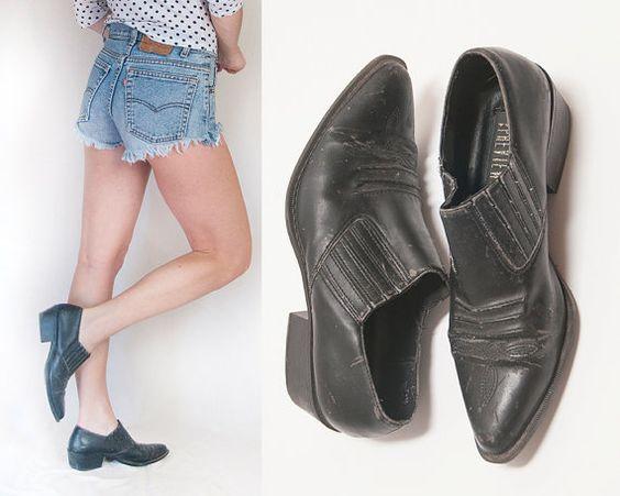 Size 7 Vegan Boho Black Ankle Boots 80s 90s Vintage faux leather ...