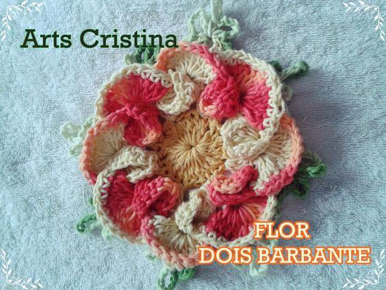 FLOR DE CROCHE DOIS BARBANTES   ARTS CRISTINA