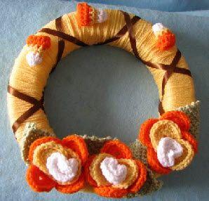 Candy Corn Flower Wreath - Free Crochet Pattern
