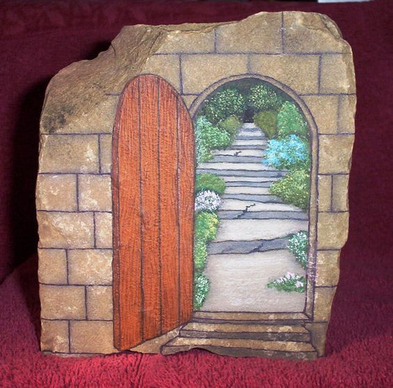 Wonderful painted rock by artist eugenia labar hand for Painted fairy doors
