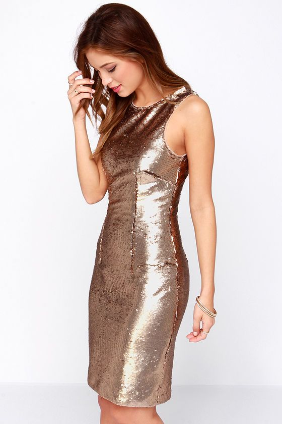 Bariano Riley Bronze Sequin Dress - Sequins- Dresses and Gold