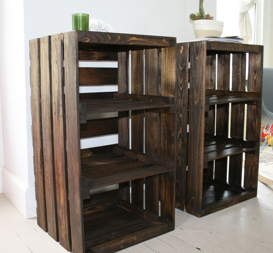 Woot just got these for our bedroom wood crate handmade for Diy crate furniture