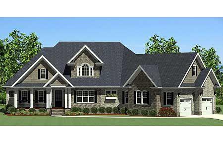Plan 46224la handsome craftsman home with angled garage for Ranch house plans with bonus room above garage