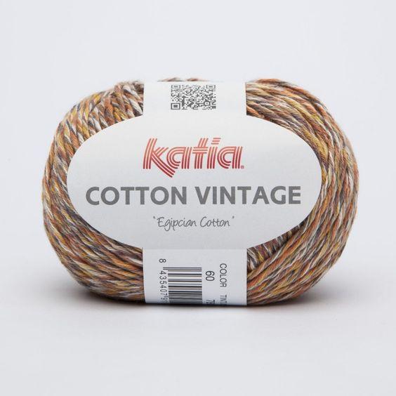lana multicolor de katia de algodón en tonos naranjas marrones y mostazas