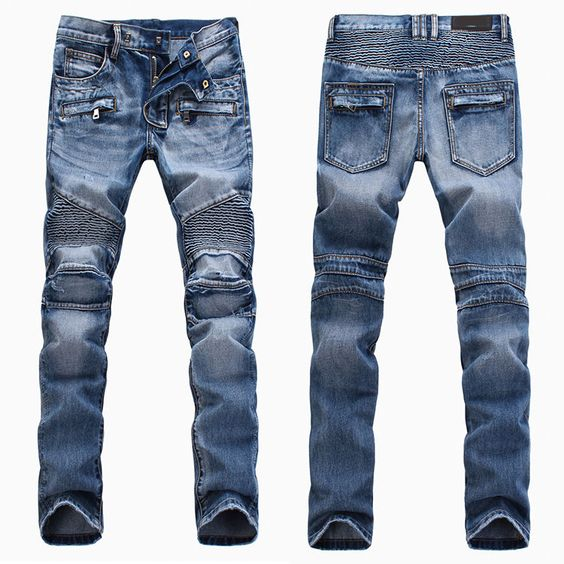 New Mens France Style Vintage Moto Pants Light Blue *Biker JEANS ...