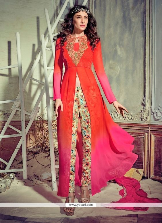 Subtle Georgette Hot Pink And Orange Pant Style Suit Model: YOS7022