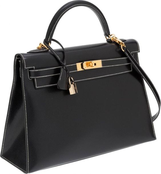 hermes tote bag - Hermes 32cm Black Veau Graine Lisse Leather Sellier Kelly Bag With ...