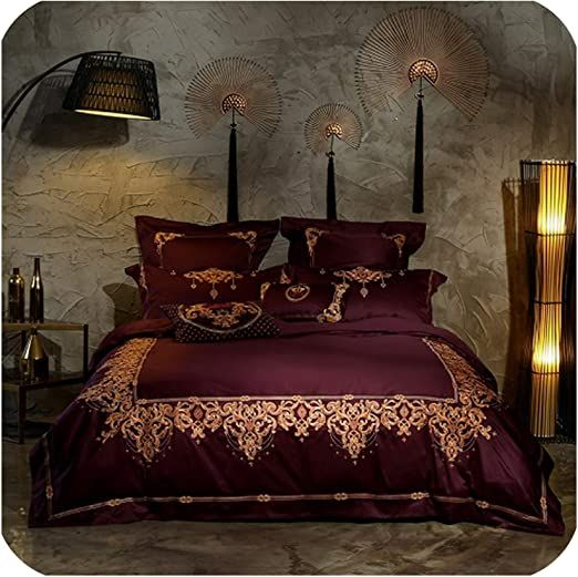 Old Street Dark Red Luxury Royal Embroidery 100s Egyptian Cotton European Palace Bedding Set Duvet Cover Bed S Duvet Bedding Sets Duvet Cover Sets Duvet Covers