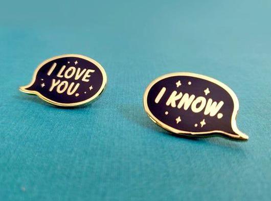 Star Wars Princess Leia I LOVE YOU Han Solo I KNOW Enamel Pins Set