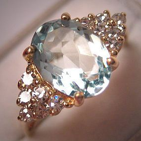 Vintage Aquamarine Diamond Ring Estate Art Deco Wedding