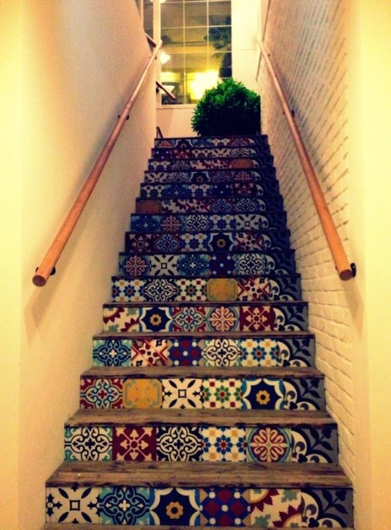 cant decide if i prefer patchwork or matching pattern tiles for the stairs...: