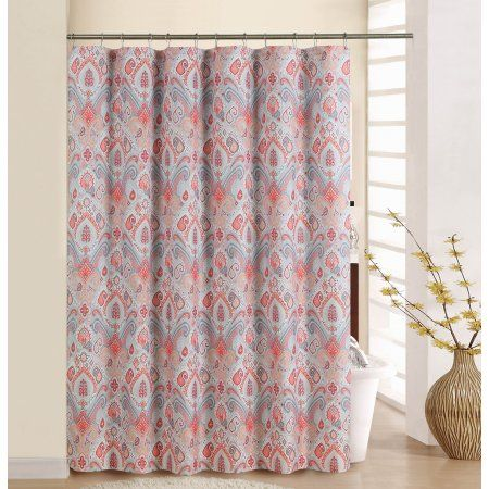 Waverly Boho Passage Coral Shower Curtain With Rings Orange Coral Shower Curtains Curtains With Rings Shower Curtain Sets
